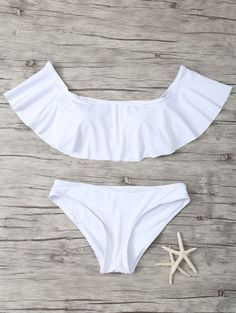 SHARE & Get it FREE | Ruffles Off Shoulder Bikini Swimwear - WhiteFor Fashion Lovers only:80,000+ Items • New Arrivals Daily Join Zaful: Get YOUR $50 NOW!