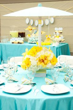 aqua blue and yellow elephant baby shower with beautiful flowers elegant