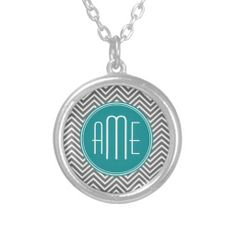 Teal Charcoal Chevrons Custom Monogram Necklace