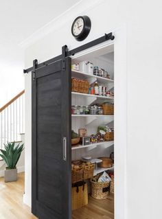 Pantry Barn Door Black Barn Door The pantry barn door was painted with Old Fashi. - Pantry Barn Door Black Barn Door The pantry barn door was painted with Old Fashioned Milk Paint, co - Küchen Design, Home Design Decor, House Design, Interior Design, Design Ideas, Modern Interior, Room Door Design, Luxury Interior, Design Projects