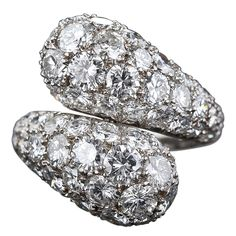 1stdibs | Platinum Pave' Diamond Bypass Ring