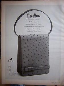 1967 Vintage Neiman Marcus Koret Ostrich Women's Purse Handbag Fashion Ad