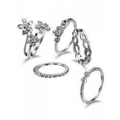 Rhinestone Butterfly Flower Finger Ring Set Silver (7.72 BAM) ❤ liked on Polyvore featuring jewelry, rings, silver butterfly jewelry, rhinestone jewelry, flower jewelry, silver butterfly ring and monarch butterfly jewelry