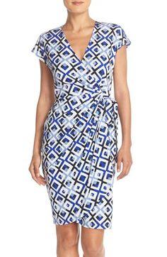 Maggy London Print Wrap Jersey Dress (Regular & Petite)