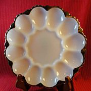 Vintage Anchor Hocking Milk Glass Deviled Egg Plate w/Heavy Gold Trim, 1950s.