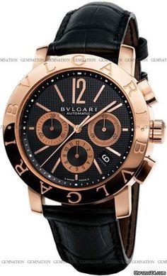 Bulgari-Bulgari Chronograph $16,960 #Bulgari #watch #watches #chronographes 18k Rose Gold with BULGARI BULGARI logo
