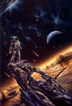 Meteor shower. Science Fiction Art. #sciencefiction