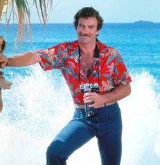 another popular look for men beginning in the early was the Hawaiian shirt, as worn by Tom Selleck, star of television's enormously popular detective series Magnum, P.I. Pulp Fiction, 80s Fashion Men, Vintage Fashion, Vintage Men, Men In Tight Pants, Magnum Pi, Tom Selleck, Cult, Aloha Shirt