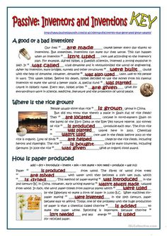 The worksheet contains seven different passages about important inventions in the history. Students must use the present simple passive and the past simple passive. English Teaching Materials, Teaching English Grammar, English Grammar Worksheets, Spanish Language Learning, Teaching Spanish, Grammar Practice, Grammar Lessons, English Activities, Vocabulary Activities