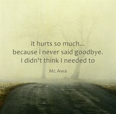 it hurts so much... because i never said goodbye. I didn't think I needed to
