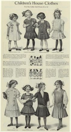 Edwardian-era children's house clothes for the little girl aged 6 to Vintage Girls, Vintage Children, Vintage Dresses, Vintage Outfits, Vintage Clothing, Edwardian Era, Edwardian Fashion, Vintage Fashion, 1918 Fashion