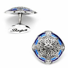 Boga Round Sterling and Blue Enamel Magnificent Cufflinks