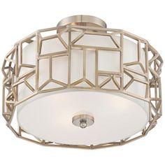 "Geo Facet 16"" Wide Satin Brass Art Deco Ceiling Light"