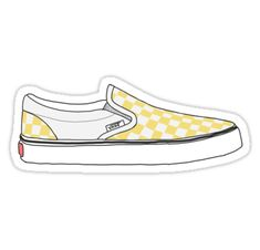 """""""Yellow Checkered Vans Shoes"""" Stickers by Josie Grace Snapchat Stickers, Meme Stickers, Tumblr Stickers, Phone Stickers, Cool Stickers, Printable Stickers, Macbook Stickers, Preppy Stickers, Red Bubble Stickers"""
