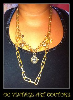 Love Candy Charm Necklace Gold Spray by OCVintageArtCouture, $18.99