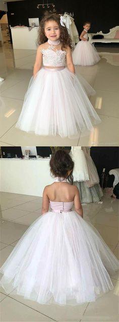 1e8e0058f3 Pink Halter Sleeveless Lace Applique Flower Girl Dresses Backless Little Girl  Dress. EVERISA