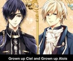 These guys look like Ciel and Alois, but they're Louis (right) and King Byron (left) from the game Midnight Cinderella :3