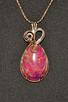 wire wrapped jewelry patterns | Wire Wrapped Pink Sea Sediment Jasper Pendant by WrappedwithStyle, $55 ...