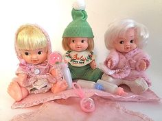 VTG Uneeda 3 Baby Pee Wee Dolls 1966 w/Clothing & Blankets Rattles Baby Bottles #Uneeda #DollswithClothingAccessories