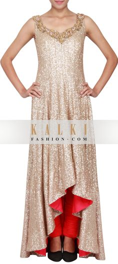 Buy Online from the link below. We ship worldwide (Free Shipping over US$100)      http://www.kalkifashion.com/a-symetrical-gold-sequin-anarkali-embellished-in-patch-work-only-on-kalki.html