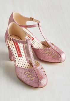 Shimmer Down Now Heel in Rose Glitter