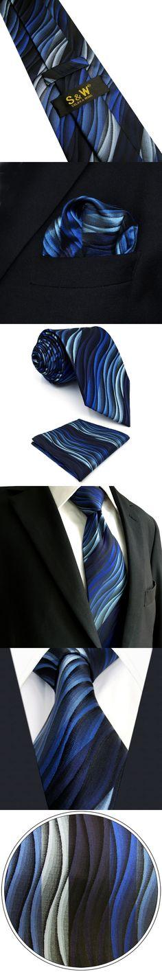 U23 Mens Ties Blue Gradual Change Ripple Silk Handmade Wedding Fashion Classic Brand New Dress Men's Accessories Necktie Hanky