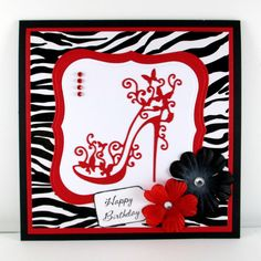 This handmade high heel card would be perfect for so many different occasions, so I am offering to amend the sentiment tag on the front of this card to say Happy Birthday, bachelorette party, 21st birthday, 30th birthday, 40th birthday or any other sentiment you would like. I designed this card with zebra print, accented with red cardstock. The beautiful high heel die cut is very intricate. I accented the card with paper flowers with rhinestones in the center. *•.♥.•**•.♥.•* The sentiment…