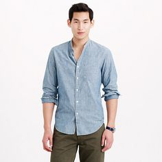 Shop J.Crew for the Wallace & Barnes band-collar Japanese selvedge chambray shirt for Men. Find the best selection of Men Shirts & Tops available in-stores and online. Chambray, Banded Collar Shirts, Flannel Shirt, Work Wear, Shirt Style, Men Casual, Menswear, Mens Fashion, Japanese