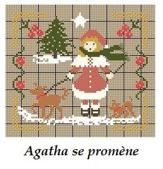 Agatha se promène...(grille gratuite) - Broderies Passion martine290*