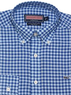 Vineyard Vines Mens Long Sleeve Gingham Slim Fit Whale Button Down Shirt