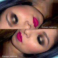 Pink lips  dramatic look by @always_heidymua