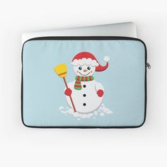 'Snowman with green and red scarf holding yellow broom' Laptop Sleeve by duyvolap Red Scarves, Macbook Air Pro, Sleeve Designs, Back To Black, Laptop Sleeves, Snowman, Hold On, Plush, Yellow