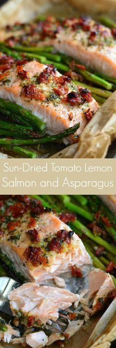 Sun Dried Tomato Lemon Baked Salmon and Asparagus. Juicy, flaky salmon is baked with asparagus in a sun-dried tomato lemon sauce. The whole dish takes less than 30 minutes to prepare. #salmonrecipe #onepandinner #salmon