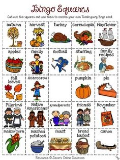 Thanksgiving Bingo - Create Your Own Luck