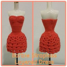 Instrucciones en: http://hubpages.com/art/Barbie-Strapless-Layered-Dress-Free-Crochet-Pattern