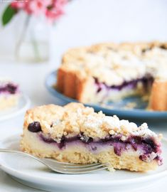 Blueberry crumble cake with pudding cream – Obstkuchen Blueberry Crumble Cake, Mary Recipe, Pudding Cake, Food Cakes, Cakes And More, Cake Cookies, All You Need Is, No Bake Cake, Mousse