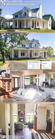 Dream house!! Our client built Architectural Designs House Plan 16805WG true to spec in reverse orientation. The wrap-around front porch is perfect for catching summer breezes!Ready when you are! Where do YOU want to build?