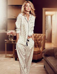 Marks & Spencer 2014 Lingerie Collection by Rosie Huntington Whiteley Ad Campaign Rosie Huntington Whiteley, Silk Pjs, Silk Pajamas, Sleepwear & Loungewear, Nightwear, Sleepwear Women, Lingerie Sleepwear, Pyjama Satin, Bridal Lingerie