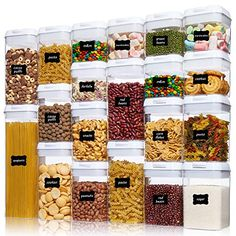 Airtight Food Storage Containers, Vtopmart 20 Pieces BPA Free Plastic Cereal Containers with Easy Lock Lids,for Kitch... Cereal Containers, Airtight Food Storage Containers, Food Huggers, Corn Snacks, Must Have Kitchen Gadgets, Pantry Organization, Organizing, Kitchen Pantry, Kitchen Dining