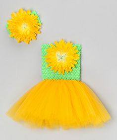 Take a look at this Lime & Yellow Mum Tutu Dress & Headband - Infant & Toddler by Bride and Babies on #zulily today!