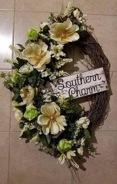 Southern Charm Spring Wreath | Front Door Wreaths | Magnolia Wreath | Farmhouse Wall Decor | Rustic Wreath