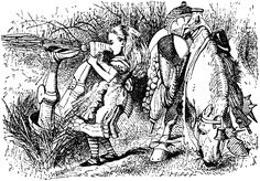 John Tenniel. Through the Looking Glass. Alice pulling the White Knight up