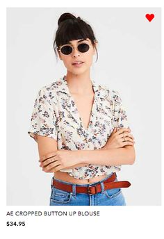 bba88e983d AE cropped buttoned up blouse Womens Clearance, Blazer Fashion, Mens  Outfitters, Cat Eye