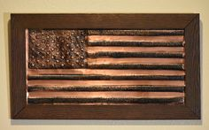 Handmade Copper American Flag 21'' x 12''