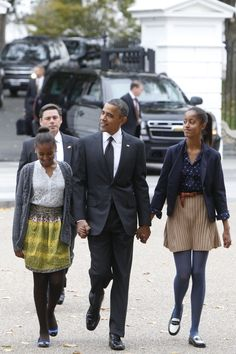 President Obama & his daughters Sasha & Malia attending a Sunday service at St. John's Episcopal Church in Washington D.C.   - MarieClaire.com