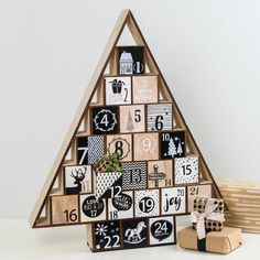 Monochrome Wooden Tree Advent Calendar by Marquis & Dawe, the perfect gift for Explore more unique gifts in our curated marketplace. Wood Advent Calendar, Advent Calander, Christmas Tree Advent Calendar, Wooden Christmas Trees, Wooden Tree, Wooden Diy, Christmas Crafts, Christmas Ideas, Christmas Countdown