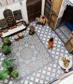 We wouldn't mind being in Morocco right now.look at all that tile! Shop our handpainted Moroccan tiles to bring a bit of Marrakech into your space. Moroccan Design, Moroccan Tiles, Moroccan Decor, Moroccan Bedroom, Moroccan Lanterns, Morrocan Floor Tiles, Houses Architecture, Islamic Architecture, Interior Architecture