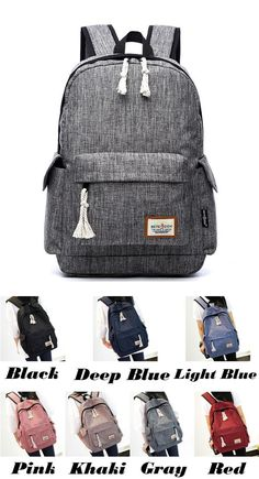 Leisure Simple Style Whole Color Large School Backpack Girl's Waterproof Oxford Cloth Travel Backpack Lace Backpack, Canvas Backpack, Laptop Backpack, Travel Backpack, Sling Backpack, Fashion Backpack, Cute Backpacks, Girl Backpacks, School Backpacks
