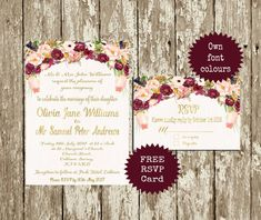 * A watercolour floral Wedding invitation suite. Lovely watercolour flowers were used with gold letters. Use your own personal information and text colour. You dont have to use the gold letters. It is for you to print at home, at a professional print shop, or through an on-line retailer. No item will be posted. This can even be used to send as a digital file to your guests. Other matching items like direction cards, wedding signs, table numbers, etc. will be available on request. WHAT TO…