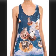CATS DONUTS SPRINKLES TANK TOP!!! Yes. I know. But it's cats on donuts in the sky. With sprinkles. I mean. C'mon. Tops Tank Tops